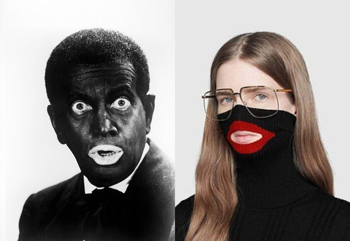 Left: American singer and actor Al Jolson in blackface, circa 1930. Right: A model wears a creation as part of the Gucci women's fall/winter 2018–19 collection.