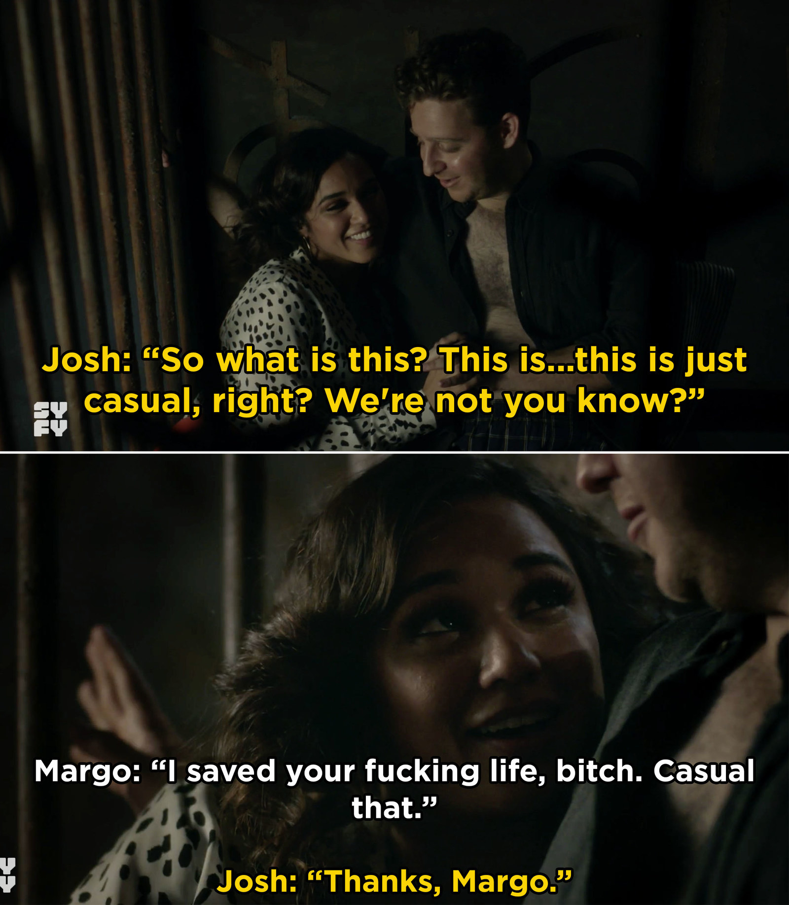A new couple emerged on  The Magicians  this week and I'm still not over it. While trying to save Josh from a horrible fate, Margo revealed her feelings for him and they slept together.