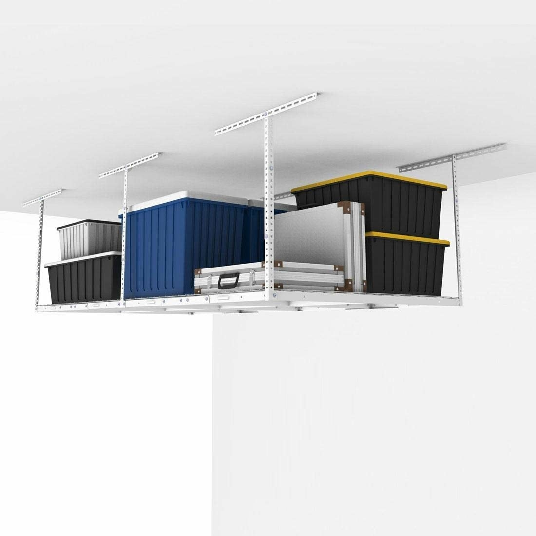 the rack mounted to a garage ceiling with containers