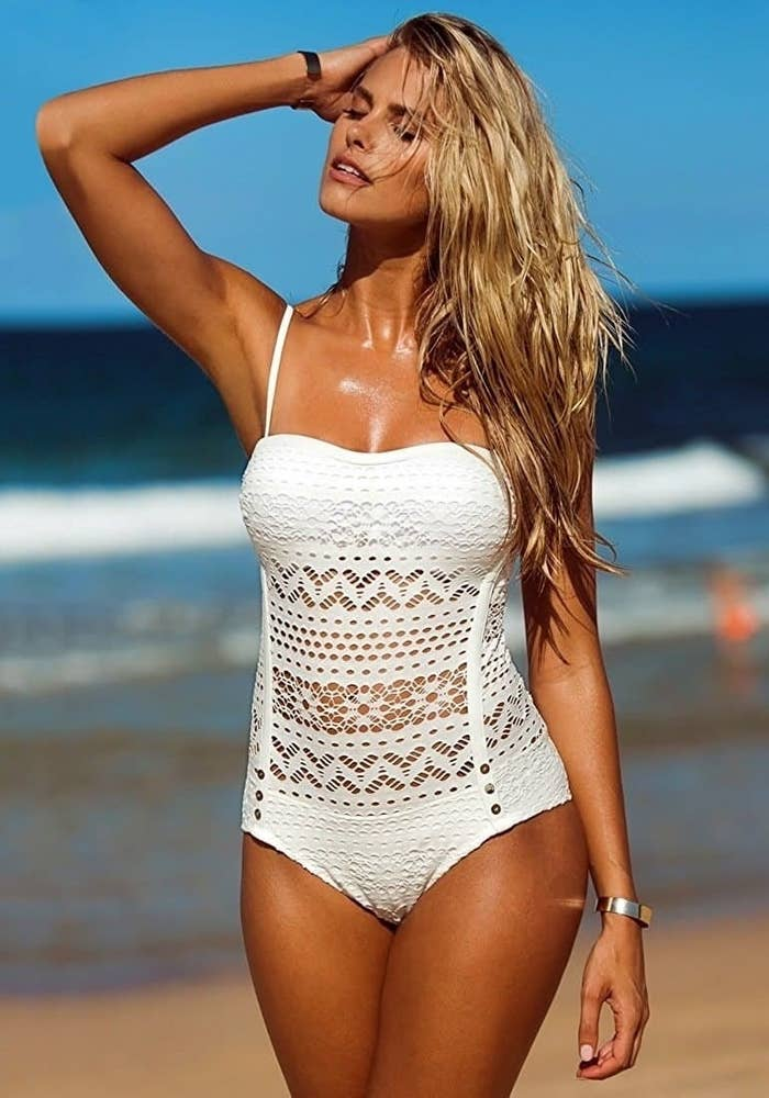 """Promising review: """"I never leave reviews, but this is by far the best swimsuit I have ever had. I have DD boobs and normally wear a size 8. I did what the other reviewers suggested and got a size down (so I purchased a size 6) and it fits perfectly! Also with having large boobs and chasing a toddler around, I was worried about the boob area not being supportive enough but this is the ONLY swimsuit I have worn that completely supports my boobs. It also came with two sets of straps with two places to put them. Overall, this is a great, cute, sexy, and supportive one piece."""" —Hope BrownGet it from Amazon for $19.99+ (available in sizes 2-16 and in six colors)."""