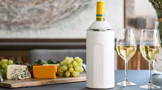 "Promising review: ""I received a Vinglace Wine Insulator from a friend and it has become my favorite gift to others. It is innovative and keeps chilled wine at the ideal temperature for hours."" —Smart Shopper 