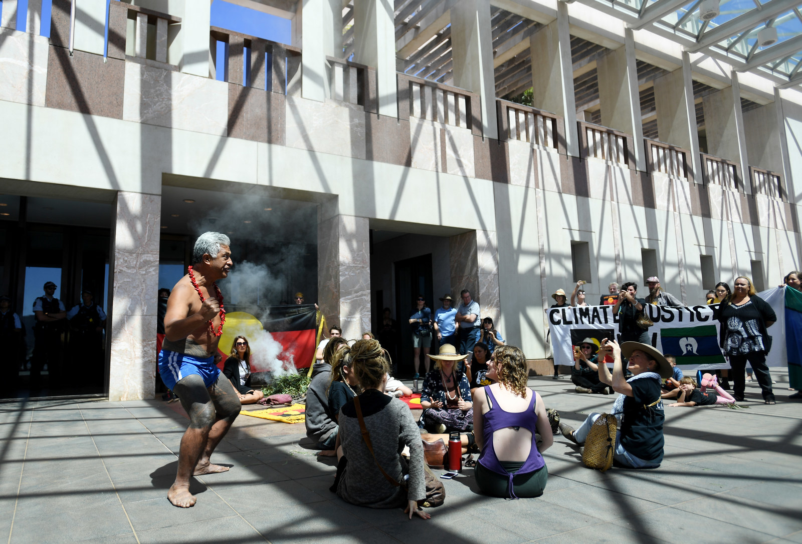 Australia -  CANBERRA, AUSTRALIA - FEBRUARY 13: Aboriginal and Torres Strait Islander people, alongside non-Indigenous allies, occupy the foyer and front entry of Parliament House on February 13, 2019 in Canberra, Australia. The group are calling for government action on Climate Change and water protection in Australia.