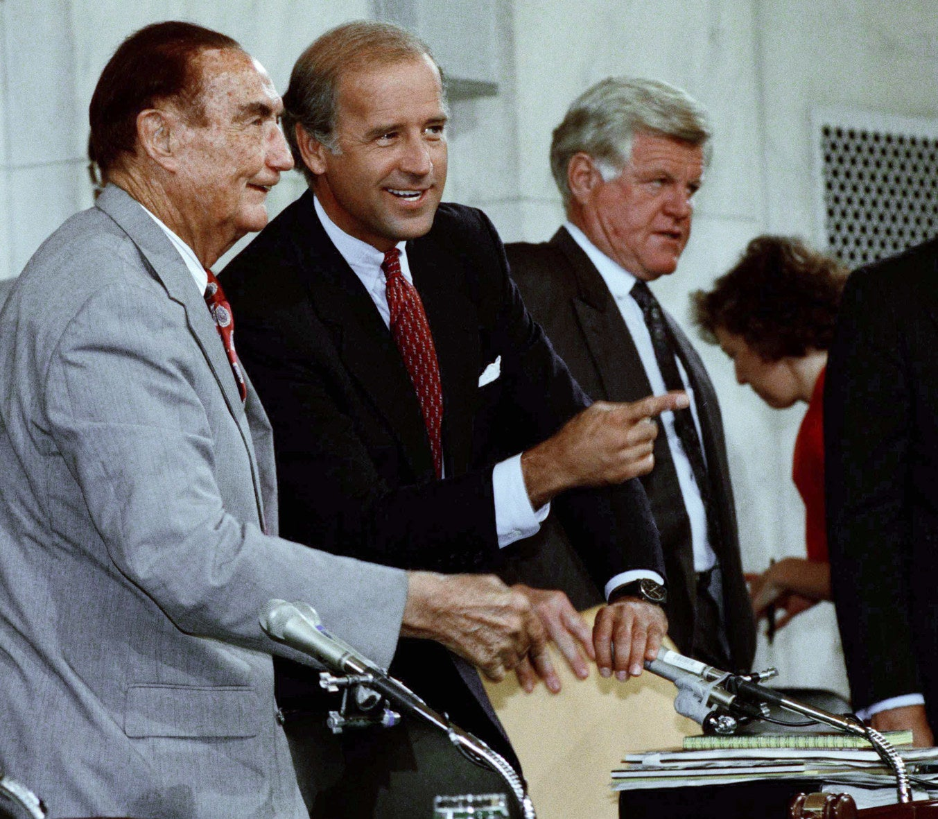 Sens. Strom Thurmond, Joe Biden, and Ted Kennedy before the Clarence Thomas hearings began in 1991.