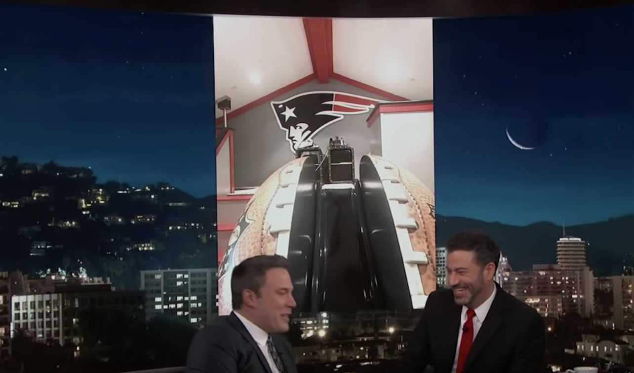 Well, that wasn't OK in Ben's book so he decided to get his son's room decorated in Patriots gear and um...Yep. That's a Patriots emblem hanging over a football SLIDE.