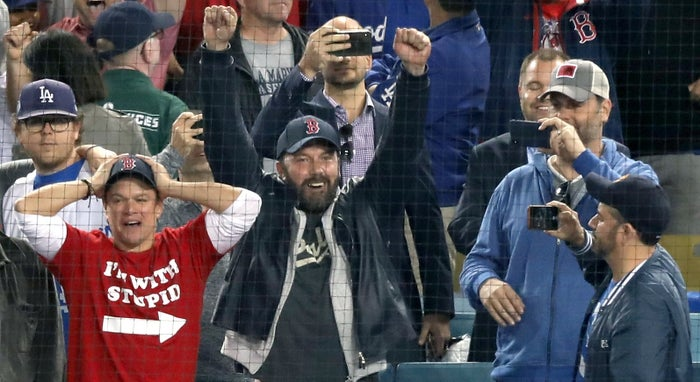 Here he is watching the Red Sox with his BFF and fellow Bostonian Matt Damon while Jimmy Kimmel snaps a pic.