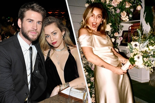 Miley Cyrus Shared Pics Of Her Fooling Around With Her Wedding Bouquet And They're Instant Classics