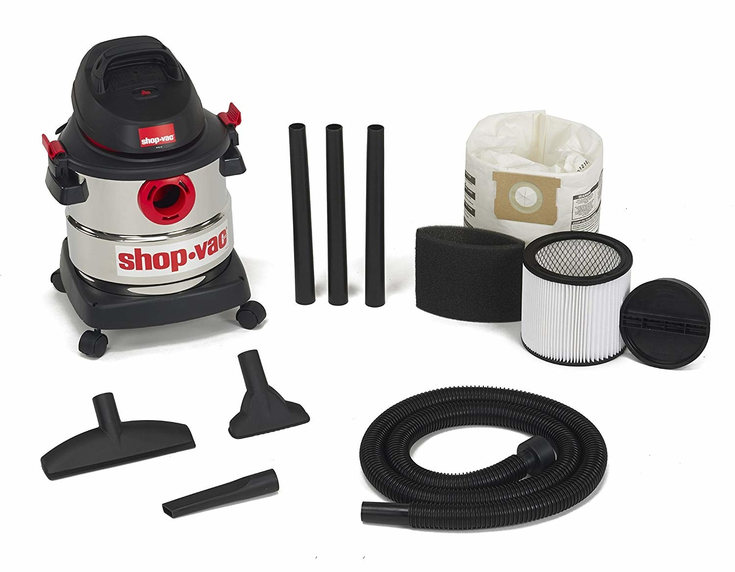 the stainless steel vac with filter, hose, and hose attachments