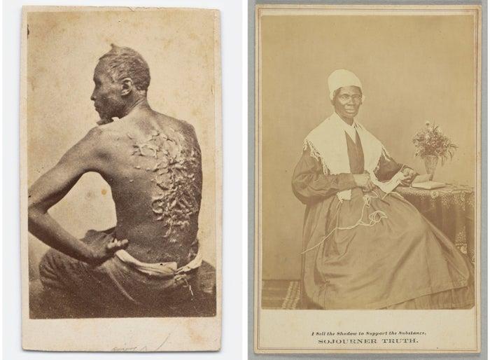 Left: 1863 photograph titled Gordon Under Medical Inspection. Right: Cabinet card of Sojourner Truth, 1864.