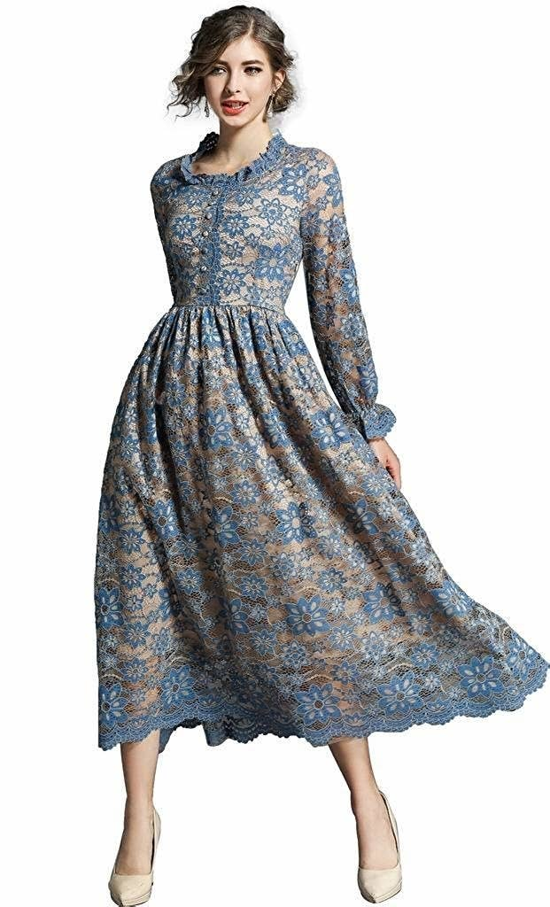 afff087d0ee A vintage-inspired lace midi dress for when you re taking your stroll  through the rose gardens while drinking tea with your pinky up and saying