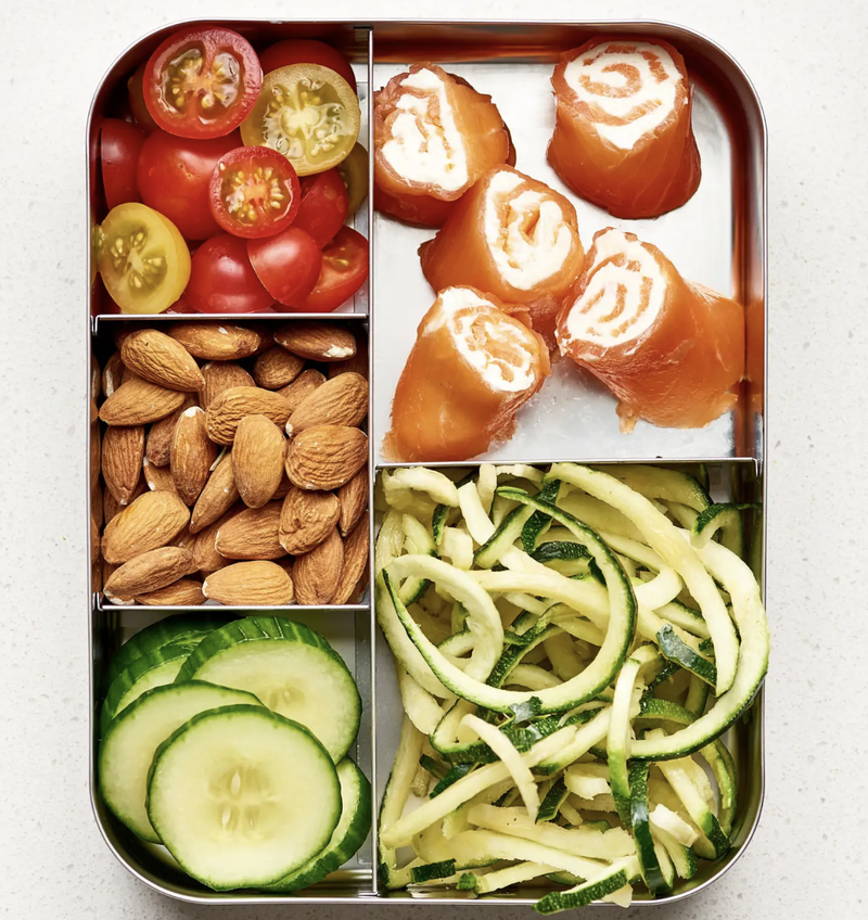 Basically a grown-up Lunchables. More fun box ideas here.