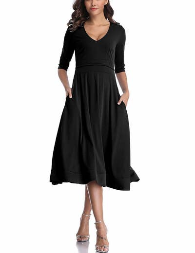 3512ef3c47a9e A three-quarter length sleeve V-neck dress you very much might get confused  for a royal princess while wearing. Share On Facebook Share ...