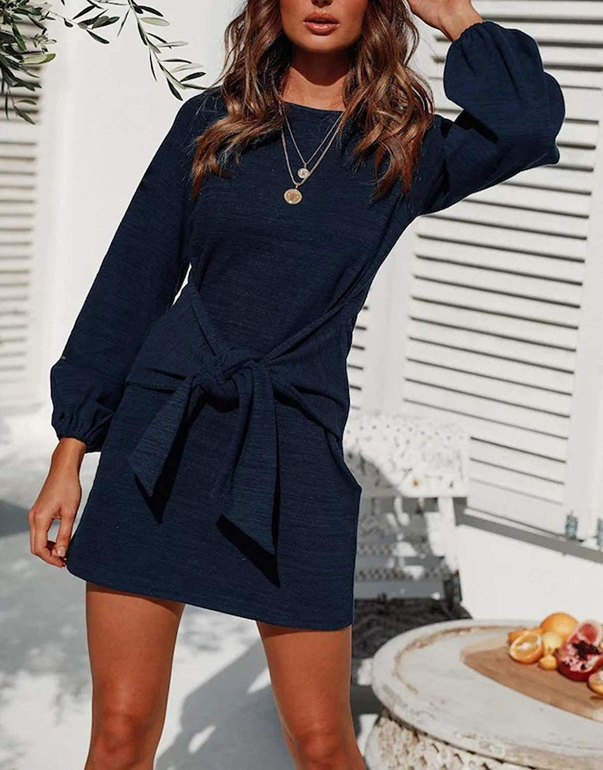 loong sleeve dress with tie waist