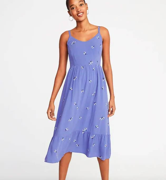 d9c04e24527 A super cute fit and flare cami midi dress for when the weather starts to  warm up and you just need a quick throw-on number. Get it from Old Navy ...