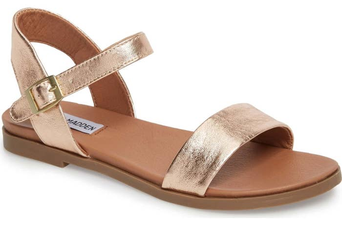 212610d16c4724 Minimalist rose gold sandals with a simple strap and a barely there heel  that ll look amazing with jeans or a little black dress.