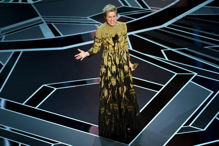 What she won for: Three Billboards Outside Ebbing, MissouriWho designed the dress: She did not walk the red carpet or reveal who designed her dress.