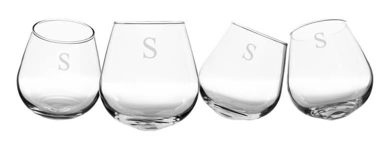 wine glasses with the letter s etched on them