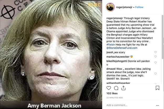 Roger Stone Posted A Photo Of The Judge Presiding Over His Case Next To Crosshairs