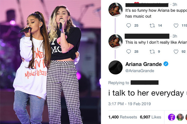 Ariana Grande Responded To Someone Who Said She Supports Miley Cyrus And Not Demi Lovato