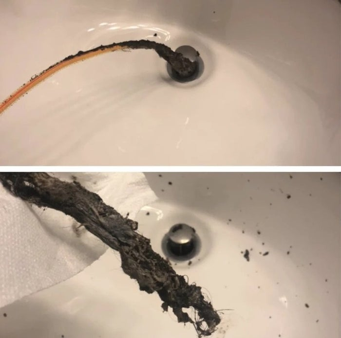 """Promising review: """"This little flexisnake is magical. After using bottles and bottles of drano to try to unclog my bathroom sink, I found this little guy! Look at the hair and gunk?!?!?! Just ordered more these babies."""" —SabrinaGet it from Amazon for $6.99."""