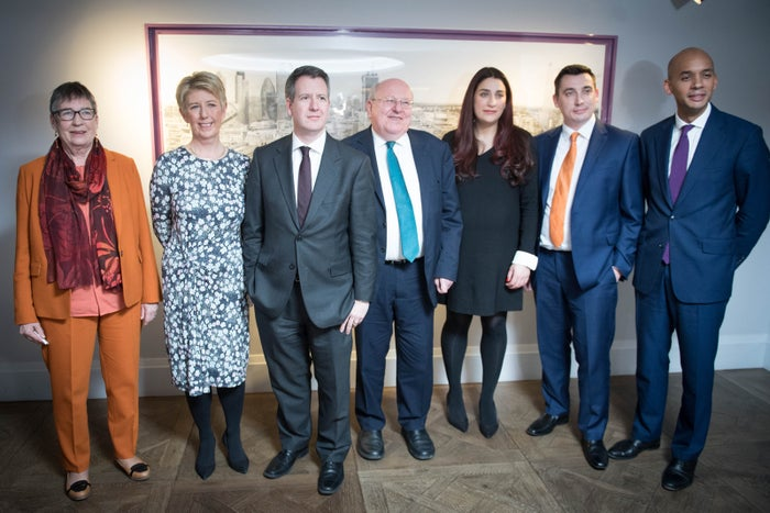 Labour MPs (left to right) Ann Coffey, Angela Smith, Chris Leslie, Mike Gapes, Luciana Berger, Gavin Shuker and Chuka Umunna after they announced their resignations