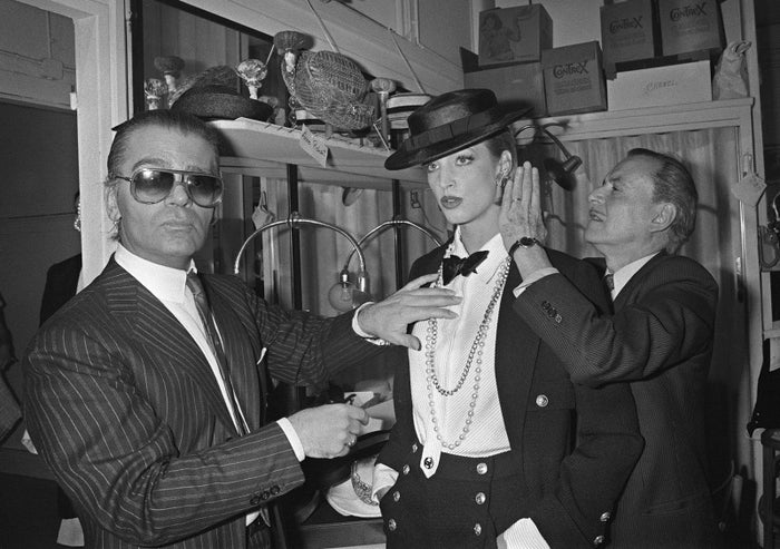German fashion designer Karl Lagerfeld backstage at a Chanel show in 1983.