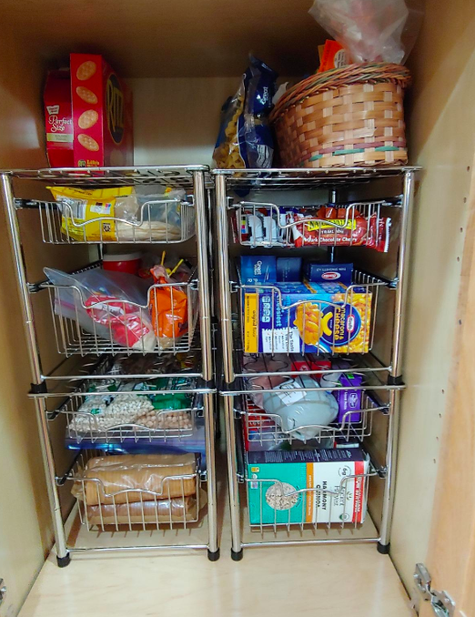 9d8db09d337b 1. Make the most out of narrow cabinets with a stackable, two-tier basket  drawer. The days of standing on your tippy-toes looking for the cinnamon  that ...