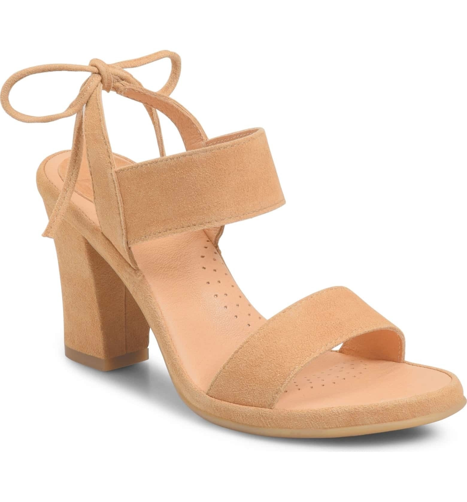 a3ed6052711e Tie-back sandals with 3-inch block heels to mitigate the typical high heel  pain without diminishing style.