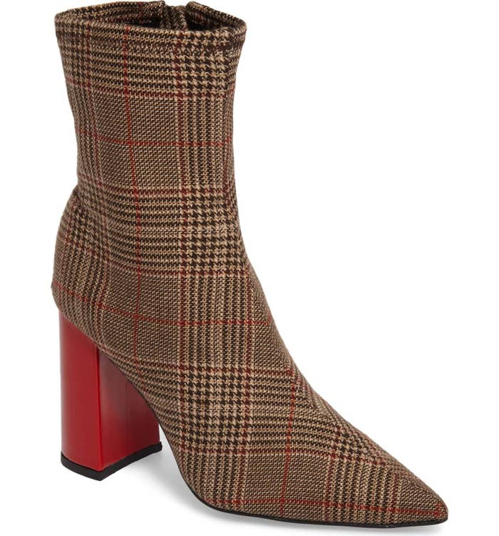 b251ebb763e Jeffrey Campbell sock booties with a flared stacked heel and on-trend plaid  pattern that ll become your go-to shoe every day.