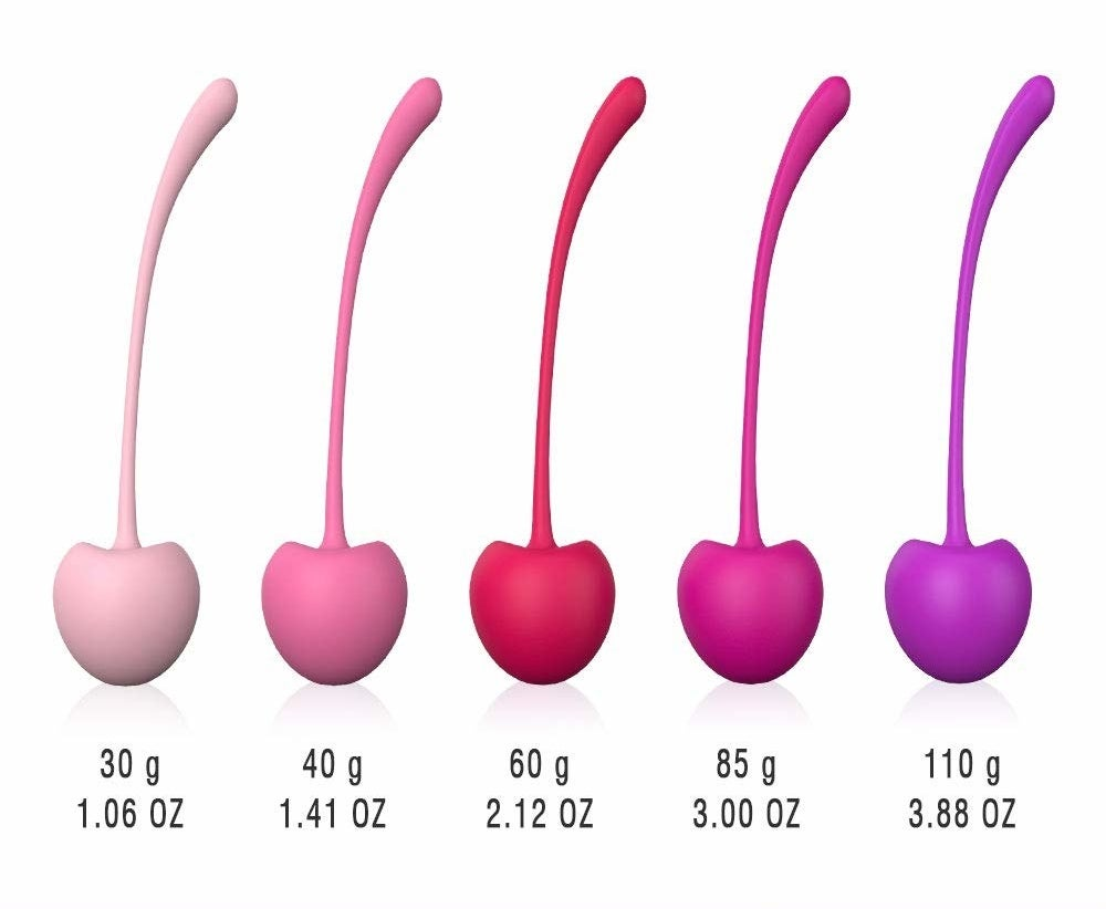 six pink and purple cherries in different weights