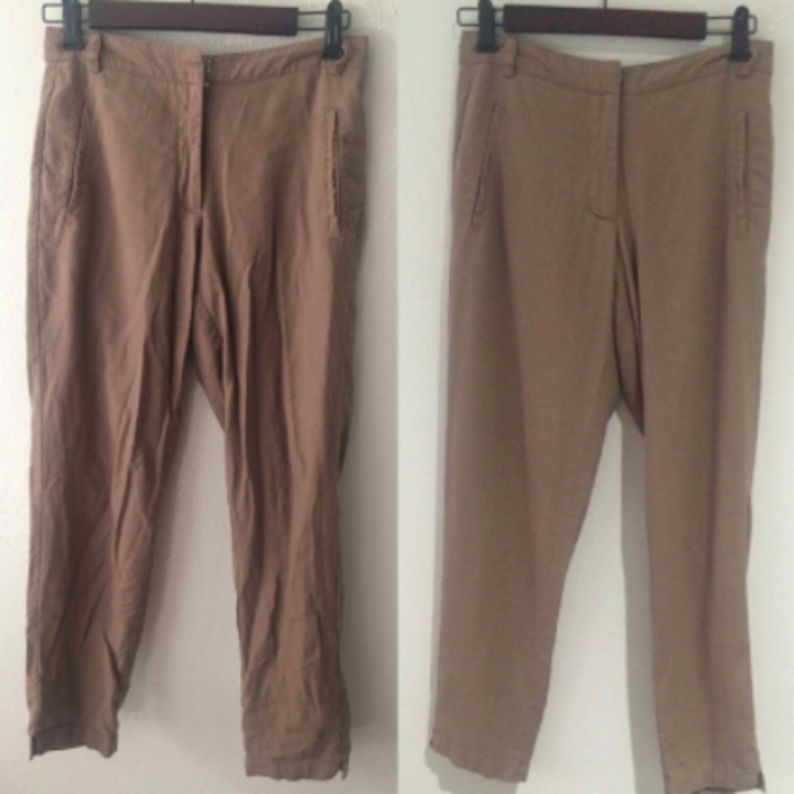 Reviewer pants before and after using steamer