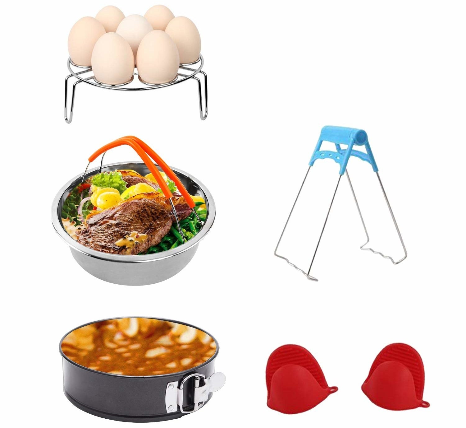 """Includes a steamer basket, an egg steamer rack, a non-stick springform pan, a steaming stand, and one pair of silicone cooking pot mitts. The items in this set are made of food-grade stainless steel, have a high-temperature resistance, and corrosion-resistant. And if you're friend doesn't own an pressure cooker yet, and you're feeling extra generous, get them one here.Promising review: """"These accessories are a game-changer if you cook with an Instant Pot. No more figuring out ways to cook certain things, and not get burnt. Why make things hard on yourself when the accessories cost so little?"""" —Stacey Marie ThomasGet it from Amazon for $17.99."""