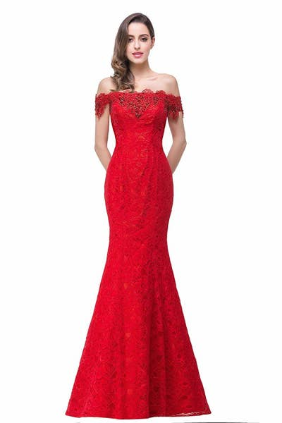44901ed4a441 An off-the-shoulder lace dress that ll get you even more looks than Bradley  Cooper gave Gaga during their song at the Oscar s. Amazon ...