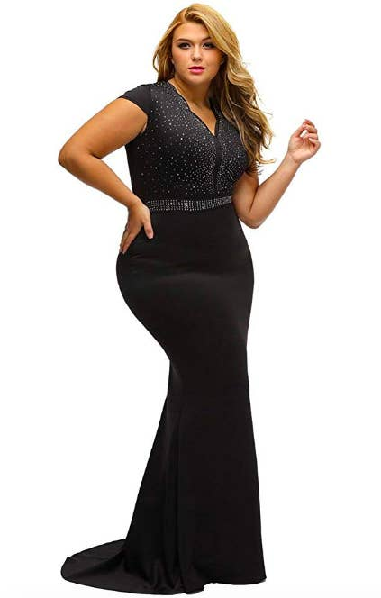2289d3e3a6b48 A sparkling scalloped gown with lace sleeves you're gonna be able to wear to  any black-tie event that comes your way, or just wear when you want to look  ...