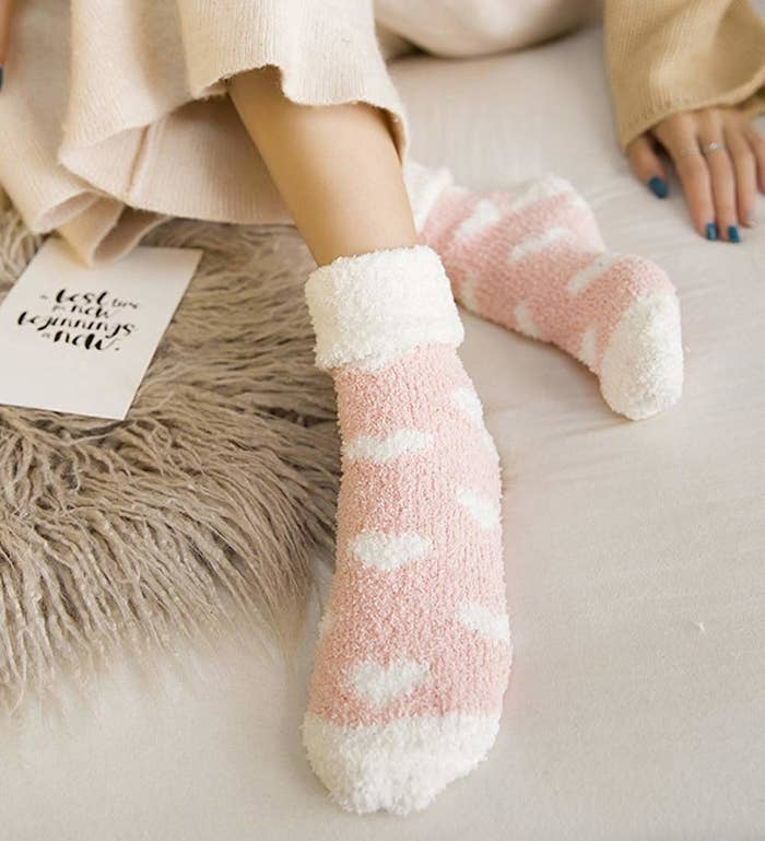 ec3948587b4b Fuzzy socks to eliminate the nights of cold feet syndrome. They re just the  right thickness so you won t overheat mid-sleep.