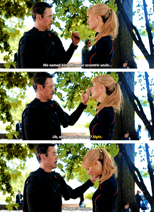 To recap, the last time we saw Pepper was in  Avengers: Infinity War . She and Tony were running in the park when he stopped and told her he'd had a dream that they had a son 😢.