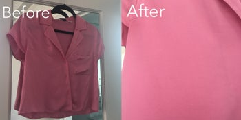 The same BuzzFeeder's shirt before and after steaming. The wrinkled shirt is completely smooth afterward