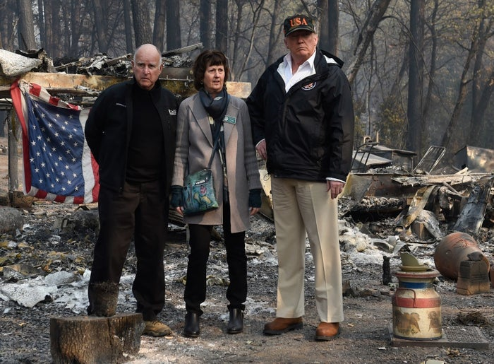 President Trump views damage from the Camp fire in Paradise, California, on Nov. 17, 2018.
