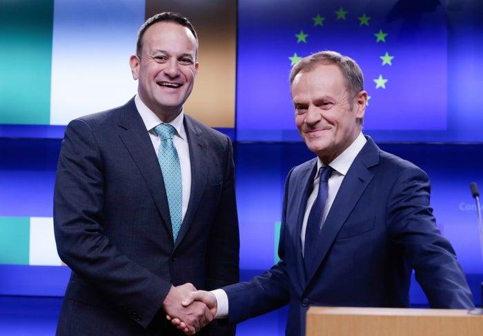 Ireland's Taoiseach Leo Varadkar and European Council President Donald Tusk shake hands following a meeting earlier this month.