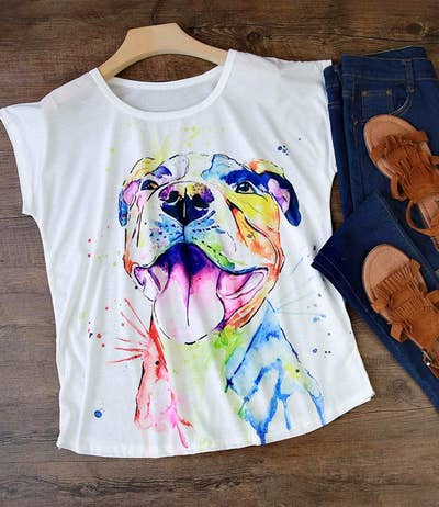 fe288b255 8. A painterly pupper tee with a gorgeous portrait of your fave breed.