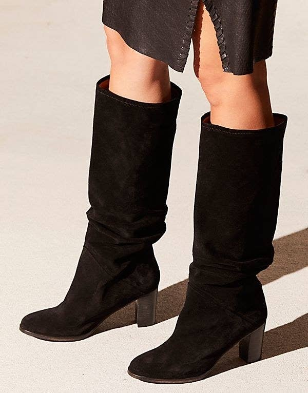 4028a599c3b Slouchy tall suede boots with a low heel to wear with a boyfriend jeans or  maxi dress for a classic vintage aesthetic.