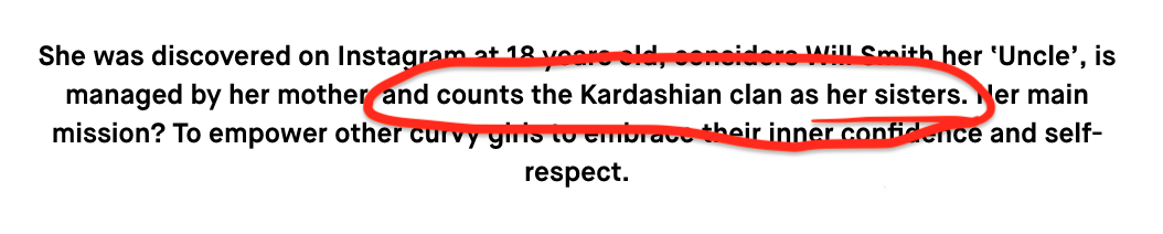 And in her bio on the site, it says that she counts the Kardashian clan as her sisters.