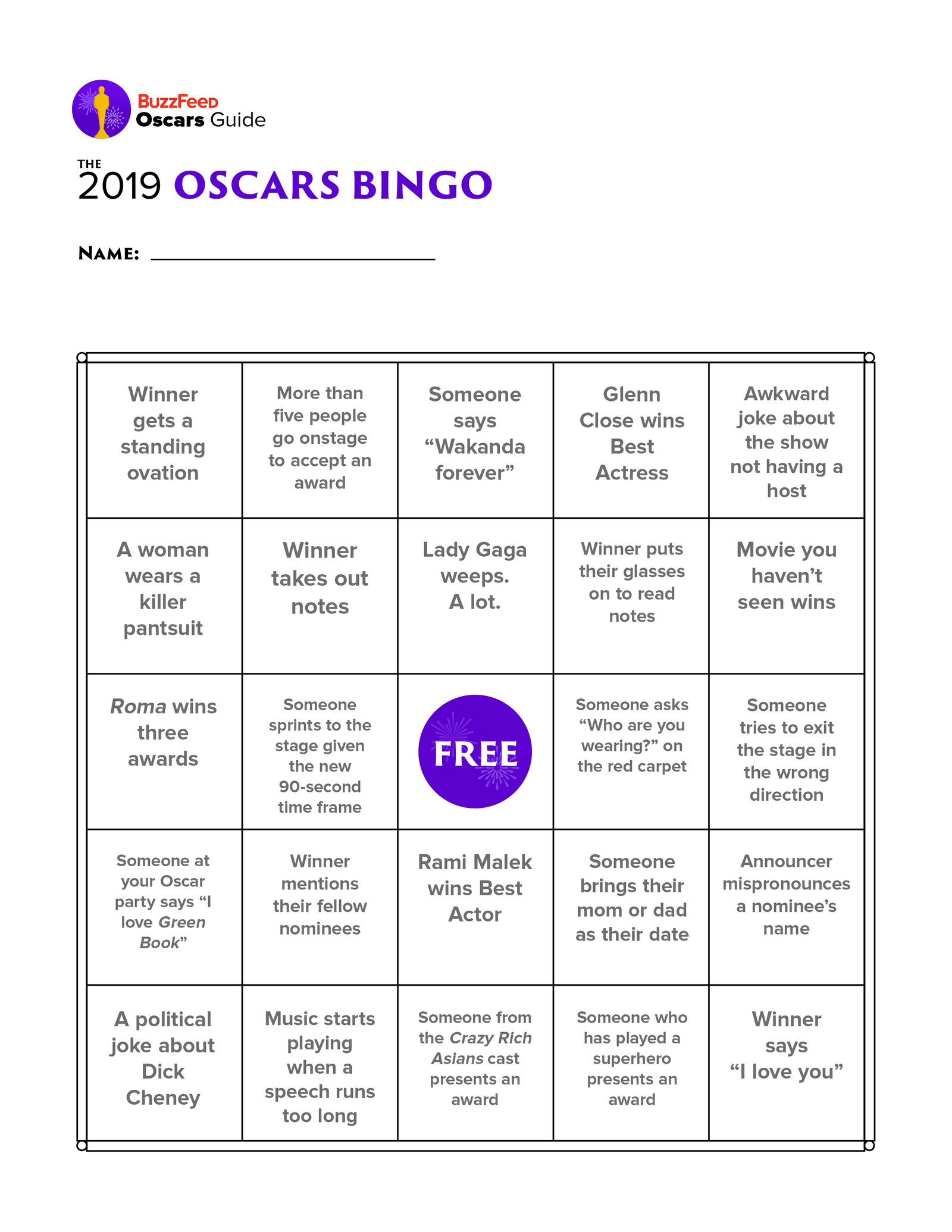 Play Along With Our Oscars Ballot And Bingo Cards