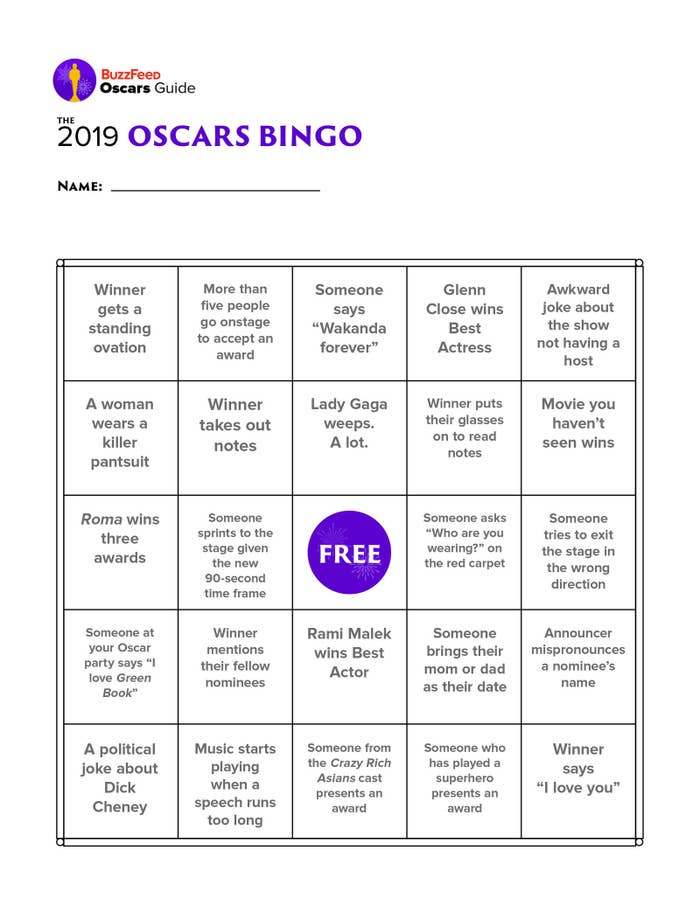 Oscars 2019 Printable Oscar Ballot And Bingo Cards