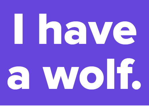 I have a wolf.