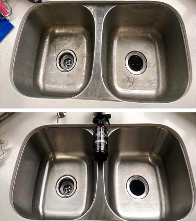 before: a reviewer's dirty, messy stainless steel sink and after: the same sink, now polished, shiny and clean