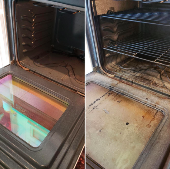 A reviewer showing an oven with lots of burn marks looking cleaner after using the product