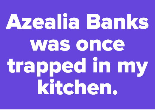 Azealia Banks was once trapped in my kitchen.