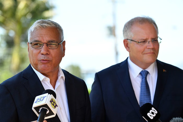 Warren Mundine at a press conference with prime minister Scott Morrison on Jan. 23 2019.