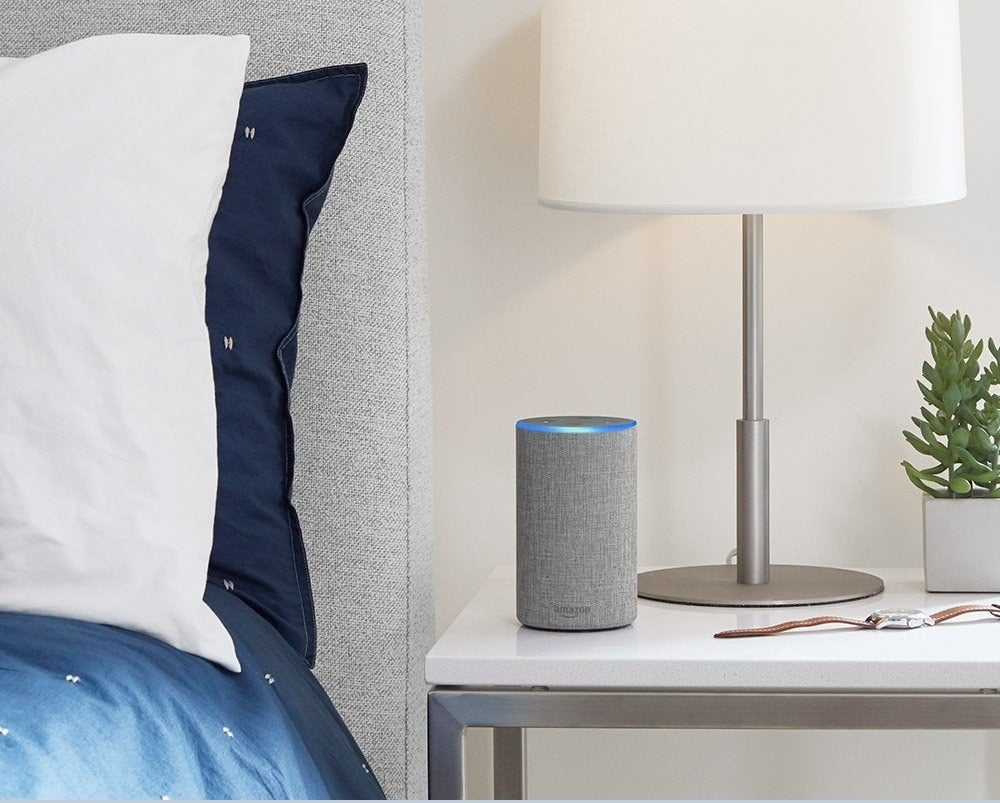 """It's completely compatible with all sorts of audio apps, including Apple Music. And if you want to get really fancy with it, you can get smart bulbs, sync it with a smart thermostat, and so so much more. Promising review: """"I am not super-tech-savvy, but I had it set up and playing music within 20 minutes of it being delivered. I used my iPad to """"install"""" it (after getting the free Alexa app), and that was it. No problems. Sound is fantastic, and even though I bought it mainly for the music, I can see myself using it to ask about the weather, how far it is to the nearest Domino's pizza, and how late does my local grocery stay open. If you like to listen to music and ask general questions, this is fantastic. If you are really interested, you can do all kinds of other stuff with it. I think I will keep it simple. Highly recommended!"""" —S.R. BullockGet one from Amazon for $99.99 (three fabric colors and two wood finishes available)."""