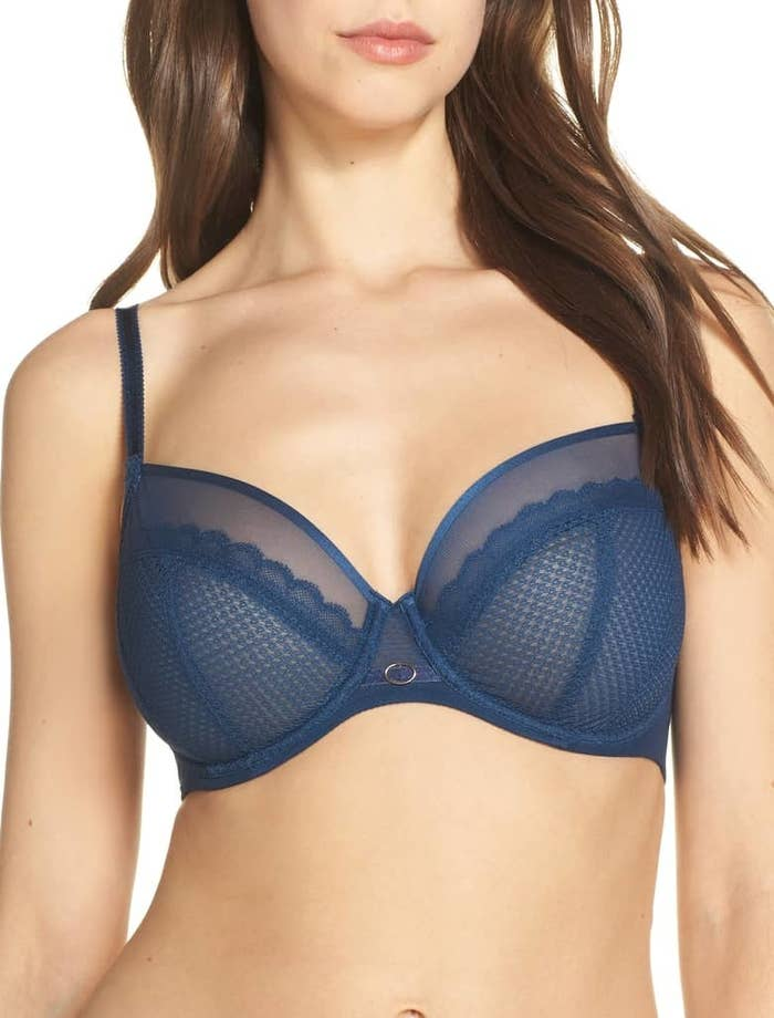 3e023716c0 A geometric lace plunge bra for starting every morning with luxe-feeling  lingerie (that s still a practical and comfy choice). The three-part cups  lift